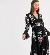 Asos Tall DESIGN Tall embroidered midi dress with lace trims