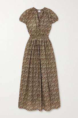 Matteau Net Sustain Cocoon Floral-print Cotton Maxi Dress - Brown