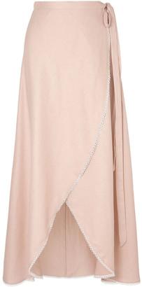 Miguelina Ballerina Crochet-trimmed Linen-gauze Maxi Wrap Skirt