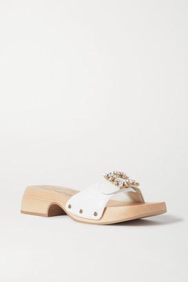 Roger Vivier Viv Crystal-embellished Leather Mules - White