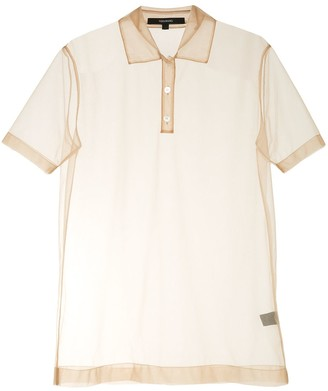 Vera Wang Short Sleeve Tulle Polo Shirt
