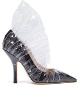 Midnight 00 Shell Crescent Satin & Pvc Ruffle Pumps - Womens - Black