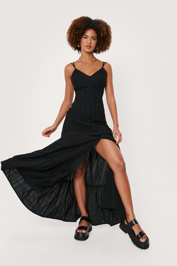 Thumbnail for your product : Nasty Gal Womens Linen Strappy Button Down Maxi Dress - Black - 12