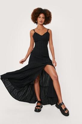 Nasty Gal Womens Linen Strappy Button Down Maxi Dress - Cream - 4