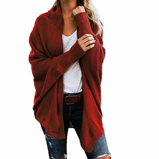 Lazzboy Womens Sweater Cardigan Knitted Winter Baggy Plain Chunky Loose Batwing Oversized Jumper Coat Fit UK Size 8-18(One Size(UK 8-18)(18)