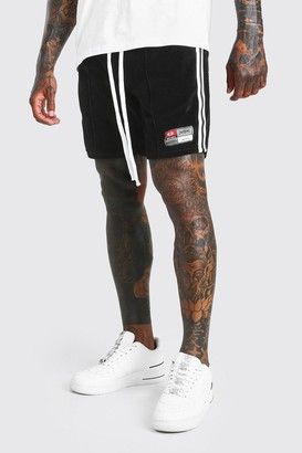 boohoo Mens Black Mid Length Towelling Jersey Short With Side Tape, Black