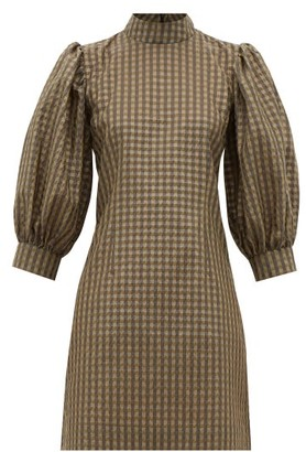 Ganni Puff-sleeve Gingham Seersucker Mini Dress - Khaki