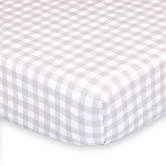 The Peanut Shell Farmhouse Gray Gingham Checkered Fitted Crib Sheet