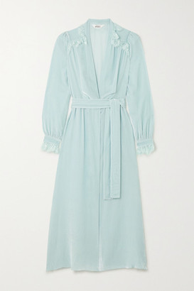 SLEEPING WITH JACQUES Freya Lace-trimmed Crushed-velvet Robe - Mint