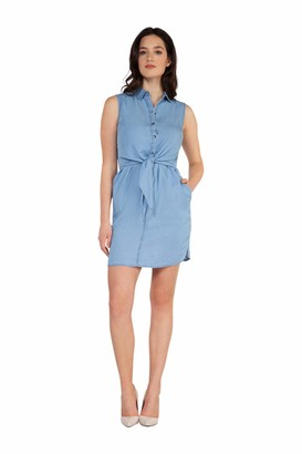 Dex Sleeveless Dress with Tied Front Panel Light Blue