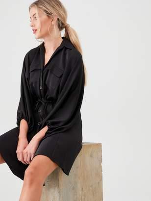 River Island Satin Shirt Dress- Black