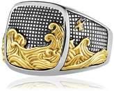 David Yurman Waves Signet Gold & Silver Ring