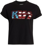 Alice + Olivia Jeans Kiss Sequin Graphic T-Shirt