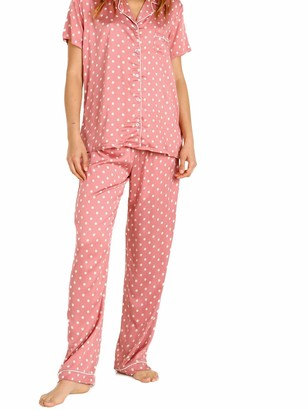 Splendid Women's Notch Color Short Sleeve Top & Pant Pajama Set