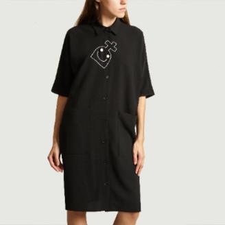 Dévastée Devastee - Black Polyster Shirt with Embroidered Croisure - 38 | polyester | black | embroidered - Black/Black