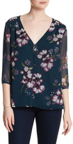 Cupcakes And Cashmere Tibet Floral 3/4 Length Sleeve Blouse