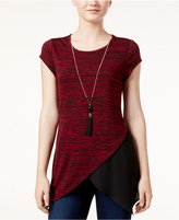 Amy Byer Juniors' Space-Dyed Asymmetrical Top with Necklace
