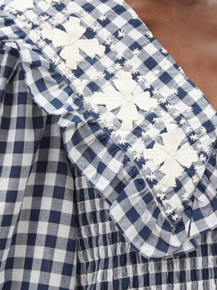 Sea Gina Ruffled-collar Gingham Cotton Midi Dress - Navy Print