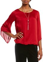 I.N. Studio Long Bell Sleeve Removable Necklace Solid Woven Blouse