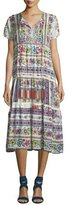 Johnny Was Charm Printed Tiered Midi Dress