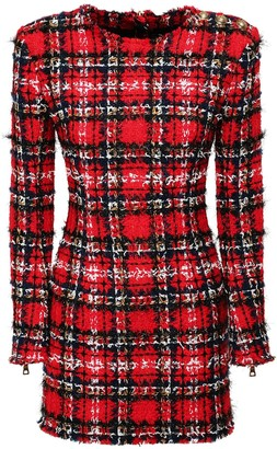 Balmain Tartan Tweed & Lurex Mini Dress