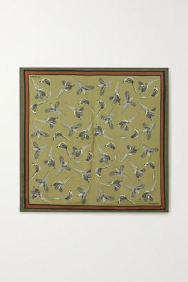 Purdey - Printed Silk-twill Scarf - Army green