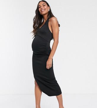 True Violet Maternity Halter Plunge Maxi Dress