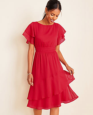 Ann Taylor Petite Smocked Waist Flare Dress
