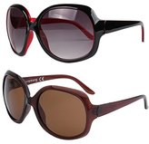 VIVIENFANG Elegant GLOSSY Fashion Oversized Polarized Sunglasses for Women P1981AD(2 PACK Black and Red, Brown)