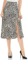 Vince Camuto Pleated Leopard Song Midi Skirt