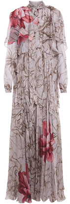 Alberta Ferretti Cape-effect Pussy-bow Printed Silk-voile Gown
