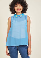 MCT1312A This sheer, swingy tank top mixes straight-laced stripes with a quirky collar decal - how daringly dynamic! Part of our ModCloth namesake label, this blue and white blouse bolsters your boldness with its beaded pineapple embroidery, gathered shoulders, an
