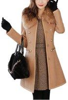 Friendshop Women's Elegant Fur Collar Overcoat Double-Breasted Slim Long Coat Jacket Outwear