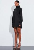 Missguided Black Blouson Sleeve High Neck Mini Dress