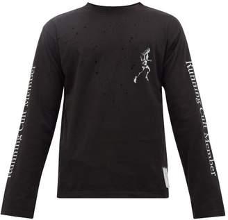 Satisfy Slogan-print Distressed Cotton T-shirt - Mens - Black