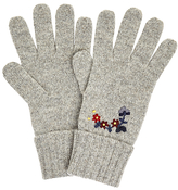 John Lewis Folkloric Embroidered Gloves, Grey