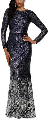 Betsy & Adam Long-Sleeve Ombre Sequined Gown