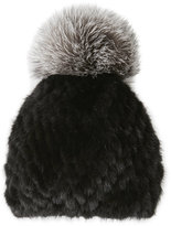 kyi kyi Real Fur Hat with Contrast Pom-Pom