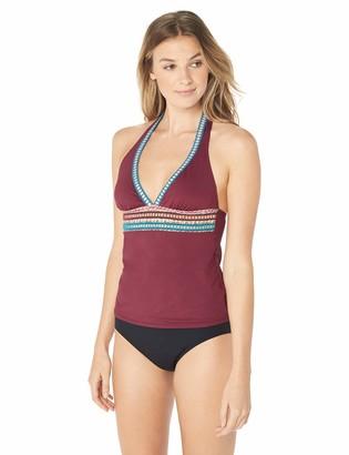 La Blanca Women's V-Neck Halter Tankini Swimsuit Top