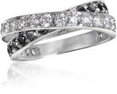 Forzieri Black & White Diamond Crossover 18K Gold Ring