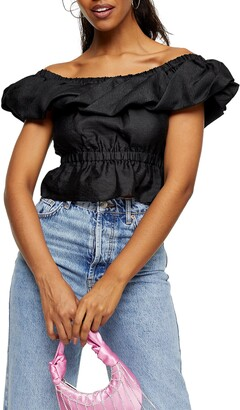 Topshop Textured Bardot Blouse