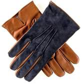 Black Men's Navy Suede and Tan Leather Gloves-Cashmere Lined