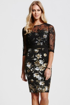 Paper Dolls Black Lace Overlaid Metallic Floral Dress