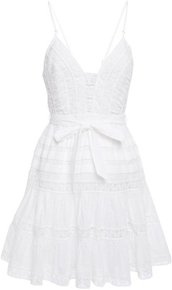 Zimmermann Belted Embroidered Tulle-trimmed Swiss-dot Mini Dress