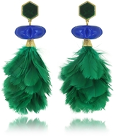Tory Burch Tropical Creature Emerald Green Feather Drop Clip-On Earrings
