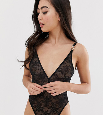 Asos DESIGN PETITE Elle delicate bodysuit with lace strappy back-Black