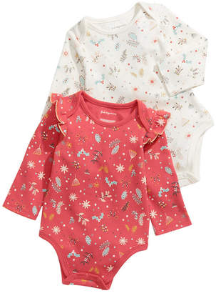 First Impressions Baby Girls 2-Pc. Cotton Holiday Bodysuit Set