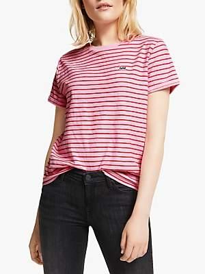 Lee Stripe Short Sleeve T-Shirt, Frost Pink