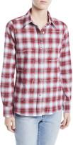 Libertine Button-Front Long-Sleeve Classic Beaded Plaid Cotton Shirt