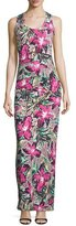 Nicole Miller Sleeveless Ruched Floral-Print Maxi Dress